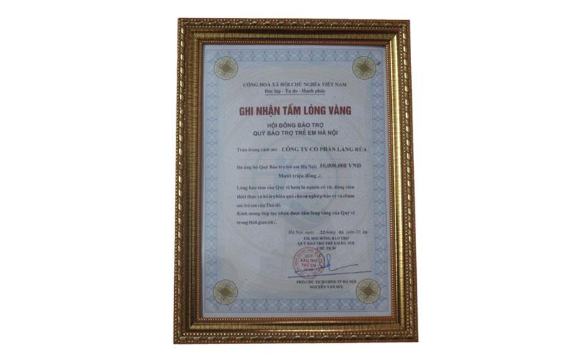 công ty cổ phần Làng Rùa nhận bằng khen từ chủ tịnh thành phối Hà Nội