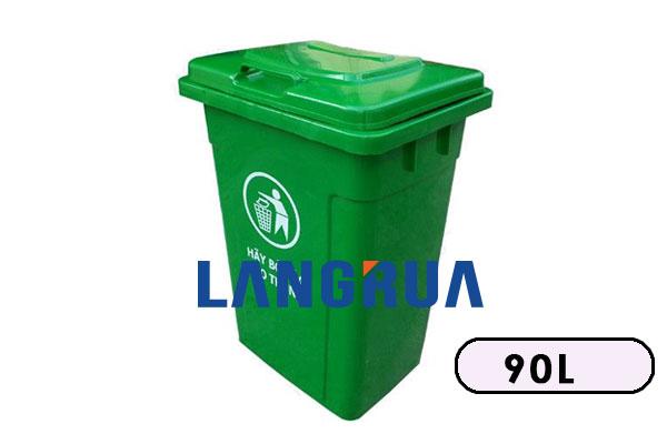 thùng rác nhựa 90 lít nắp ngoài